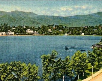 Vintage New York Postcard - Mirror Lake at Lake Placid in the Adirondacks (Unused)