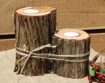 Rustic wedding decor, Rustic Candle Holder, Branch Votive Holder, tree stump candle, outdoorsy party decor, wooden centerpiece