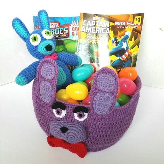 Bonnie Basket Plush Bin Bag, Bonnie Amigurumi, FNAF Amigurumi Bag Bin Basket, Five Nights at Freddys Bag Bin Basket Plush, Easter Basket