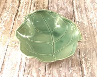 Small Leaf Shaped Serving Bowl - Modern Green Leaf Bowl  - 648