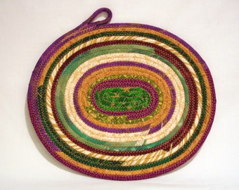 Mardi Gras Oval Coiled Fabric Table Mat, Candle Mat