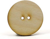 Pkg of 12 - Unfinished Wooden Button - 1-1/2 inches in diameter with 2 2mm holes and 1/8 inch thick unfinished wooden shapes wood pieces