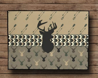 Custom Door Mat -Deer Head and Arrows- 24x18 Any Color available, Add Personalization if desire