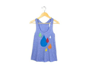 Raindrops Tank - Racerback Scoop Neck Swing Tank Top in Heather Blue and Multi Rainbow - Women's Size XS-2XL