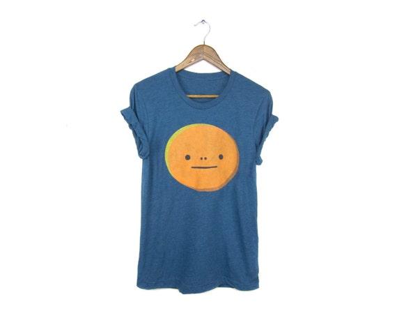 Mr. Face Tee - Boyfriend Fit Crew Neck T-shirt with Rolled Cuffs in Heather Steel Blue and Orange - Women's Size S-4XL