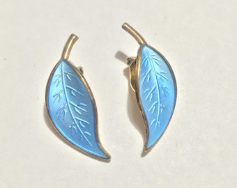 Vintage David Andersen Leaf Earrings Sterling Blue Enameled Clip Earrings David Andersen Norway