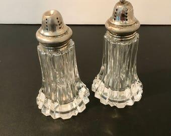 Crystal Shakers Salt & Pepper Crystal Silver Mid Century