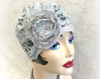 Gray Lace Turban - Lace Cloche - Lace Bridal Hat - Pearl Gray Cloche - Great Gatsby Hat  - Soft Lace Turban - Chemo Bridal Hat -Handmade USA