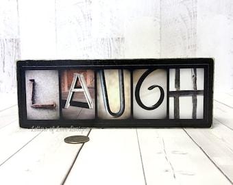 Laugh Wood Sign, Refrigerator Fridge Magnet Wooden Magnet, Kitchen Decor  Signs, Live Laugh