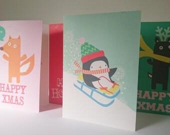 Set of 4 x Christmas Cards