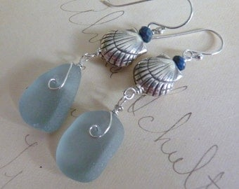 Blue Sea Glass Earrings - Thai Silver Sea Shells - Sterling Silver Earwires - English Seaglass - HAZY SKY