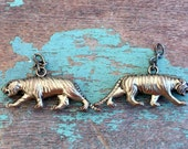 Vintage Pair Tiger Charms Pendants Jewelry Supplies Brassy