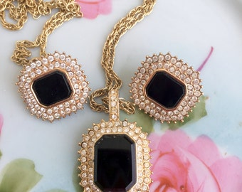 Vintage Black glass and rhinestone encrusted necklace pendant and earring set