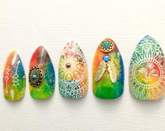 Rainbow Boho Sunshine Stiletto Nails- Press On Nails- Stiletto Fake Nails- Rainbow Nail- Boho Hippie Free Spirit, Tie Dye Nail, Fake Nail