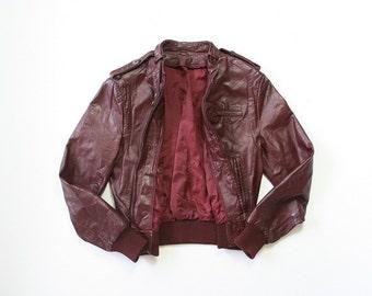 Leather Bomber / Moto Jacket / 1980s Pilot Brown Leather Coat / 80s Motorcycle Jacket / Cafe Racer / Unisex / Small