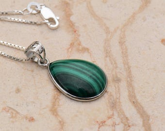Malachite Teardrop Pendant Necklace in Sterling Silver Setting and Openwork Bail on Venetian .999 Silver Plated Chain