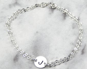 personalized initial Bracelet, disc bracelet,  Hand Stamped Initial Bracelet,  Sterling Silver Friendship Bracelet,