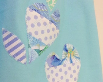 "Girls Dress Or Nightgown ""Patchwork Blue Hearts""  Custom Sizes Girls Sizes 5,6,7  Flannel Or Cotton betrueoriginals"