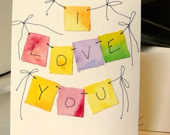 "I love You Watercolor Original 4"" x 6"" Card and Envelope Inside Of Card is Blank betrueoriginals"
