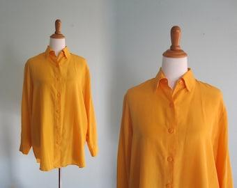 Chic 80s Diane von Furstenberg Marigold Yellow Silk Shirt - Vintage Saffron Silk Blouse - Vintage 1980s Silk Shirt S M L