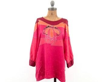 HOLIDAY SALE vintage SILK asian print Magenta hue Tunic blouse S-M