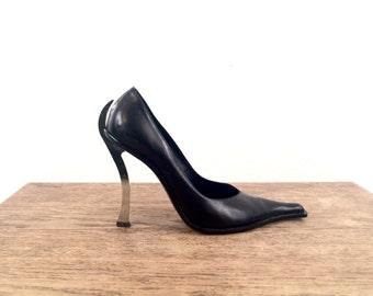 vintage 90s black leather PARISI & NADALINI metal heels 7 us, 37 eur