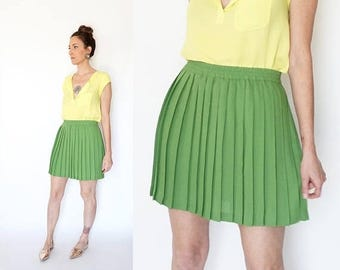 SPRING SALE 90s ESPRIT pleated Lime mini skirt M