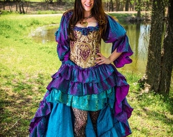 Mermaid Fancy Purple and Blue Iridescent Shimmer Blouse, Fairy, Steampunk, Victorian, Renaissance, Medieval, Western, Peasant Blouse, Pirate