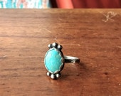 Number 8 Mine Turquoise Sterling Silver Ring - Size 7 - Boho Hippie Dainty ponderbird