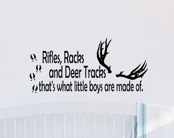 Rifles Racks and Deer Tracks Vinyl Decal, Nursery Decor, Boy Decal, Boy Nursery Decal - Vinyl Decal - Stickers - Deer