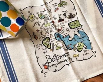 Baltimore Map Kitchen/Tea Towel
