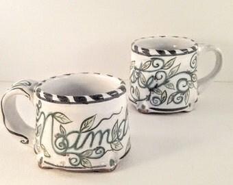 Namaste - majolica pottery coffee mug - ceramic tea mug - artist Karen Baker - leaves and vines - nature inspired