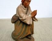 Shepherd, A O Zwink Ober Ammergau Hand Carved Wood, Shepherd, Praying Man Wood Carving, Man With Messenger Bag Kneeling in Prayer