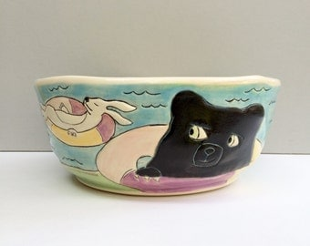 "Animal Serving Bowl, Colorful Blue Serving Bowl with Tubing Woodland Animals, Animal Art Pottery, ""Tubing With Frenemies)"