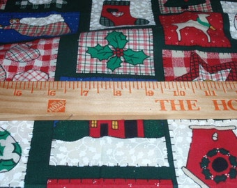 """Christmas Hoilday Fabric Squares Quilting Fabric 100% Cotton 44"""" Wide  1/2 Yard"""