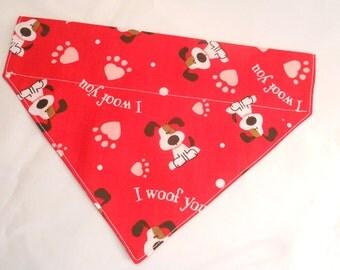 Dog Bandana...Valentine's Day...Slip on Design...Slides Over Collar...Size: Small, Medium and Large
