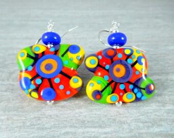 Colorful Abstract Earrings, Funky Earrings, Statement Earrings, Bright Color Jewelry, Lampwork Glass Earrings, Whimsical Earrings - Random