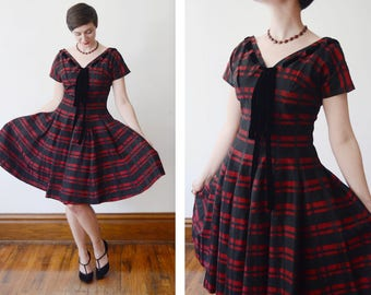 1950s Black and Red Striped Party Dress - S/M