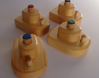 Wooden Small Boat Set of 4, Bathtub Simple Wood Boat Toy, Handmade Waldorf inspired Toddler Toy, Kids gift, Jacobs Wooden Toys