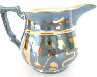 Vintage Abingdon Teal Blue & Gold Luster Cream Pitcher Jug