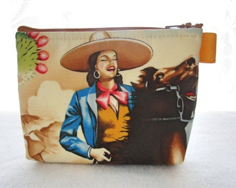 Las Charras Mexican Horsewoman Beautiful Latina Fabric Gadget Pouch Small Cosmetic Bag Fabric Zipper Pouch Makeup Bag Alexander Henry