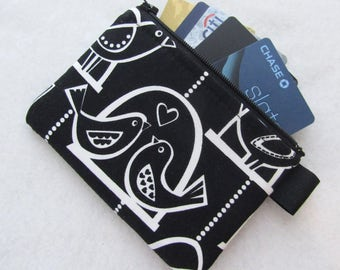 Love Bird Swing Fabric Womens Credit Card Case Zippered Coin Purse Wallet Business Card Holder Black and White Love Birds Singing