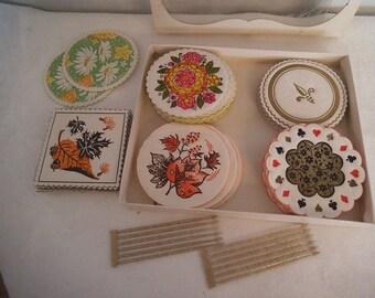 47 pc various Paper Coaster set ~ Bridge Ephemera ~ paper crafts
