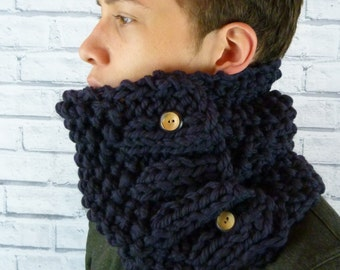 READY TO SHIP Men's Hand knitted Cowl, neckwarmer 100% merino wool - Charcoal