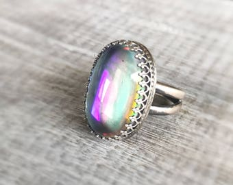 Rainbow Aura Quartz Ring, Sterling Silver Ring, Quartz Gemstone Jewelry, Mystic Quartz Ring, Crown Jewelry, Metalwork Jewelry