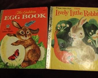 Vintage Golden Books 2 Easter Bunny Rabbit Golden Books