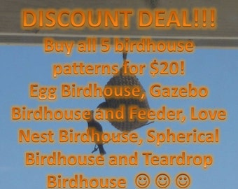 Discount Deal!  All 5 Birdhouse Patterns!!!
