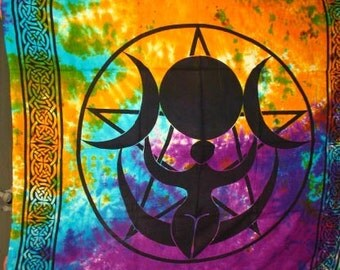 Triple Moon Goddess Pentacle Tie Dyed Tapestry~Bed Cover~#2