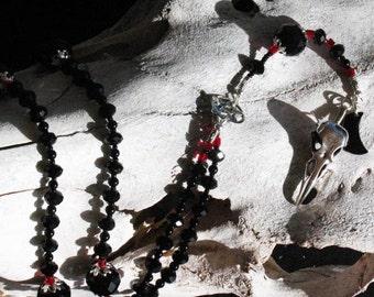 Morrigan Raven and Black Moon Pagan Rosary~Crystal~Ritual~Dark Moon