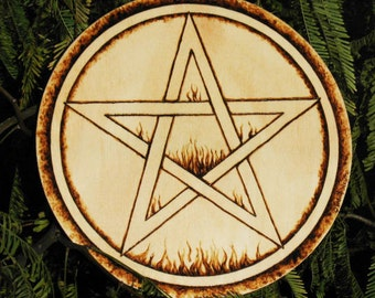 Wood Altar~Fire Pentacle~Hand Burned and Varnished~Pine~Pagan Decor